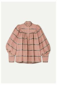 Anna Mason - Kasia Metallic Embroidered Cotton-blend Jacquard Blouse - Pink
