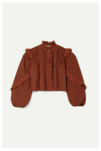 Ulla Johnson - Adelaide Ruffled Broderie Anglaise-trimmed Cotton-poplin Shirt - Burgundy