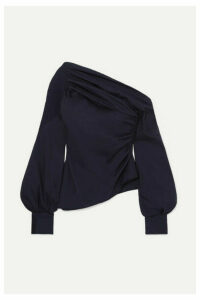 Peter Pilotto - One-shoulder Ruched Cotton-poplin Top - Navy