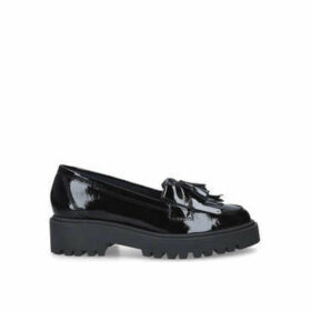 Kurt Geiger London Klarke Pump - Black Patent Flatform Tassel Loafers