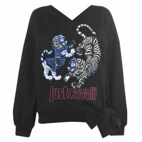 Just Cavalli V Neck Tied Tiger Sweatshirt