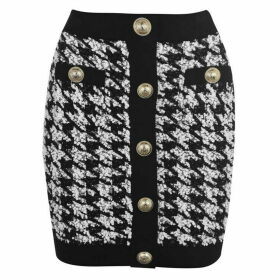 Balmain Button Tweed Skirt