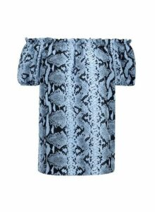 Womens Blue Snake Print Bardot Top, Blue