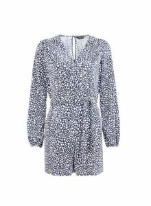 Womens **Navy Spot Print Playsuit- Blue, Blue