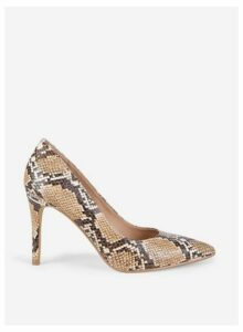Womens Snake Print 'Danielle' Court Shoes- Brown, Brown