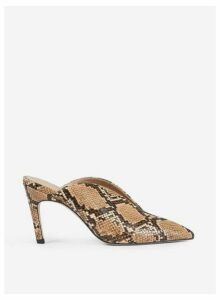 Womens Multi Colour Snake Print 'Ego' Mule Court Shoes- Brown, Brown