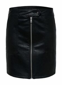 Womens Only Black Faux Leather Skirt, Black