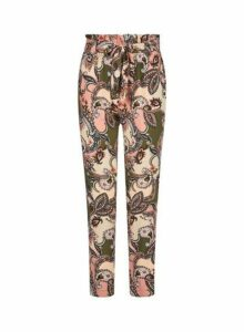 Womens Petite Multi Colour Paisley Print Joggers- Yellow, Yellow