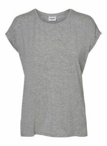 Womens **Vero Moda Grey Short Sleeve Plain Top, Grey