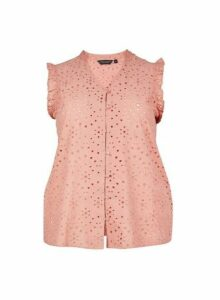 Womens **Dp Curve Blush Broderie Button Top- Pink, Pink