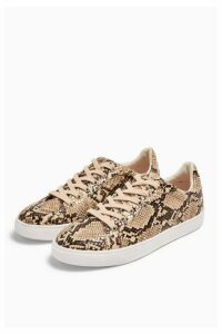 Womens Cola Snakeskin Lace Up Trainers - Natural, Natural