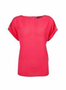 Womens Fuchsia Textured T-Shirt - Pink, Pink
