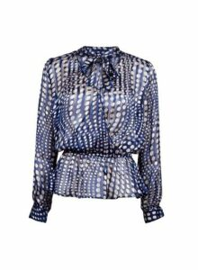 Womens **Blue Satin Tie Neck Blouse- Blue, Blue