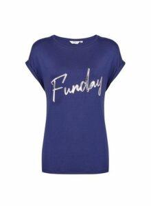 Womens Tall Blue 'Funday' Slogan T-Shirt, Blue