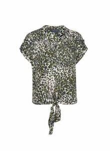 Womens Khaki Camouflage Print Tie Front Top, Khaki