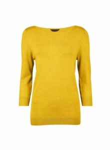 Womens Yellow 3/4 Sleeve Jumper, Yellow