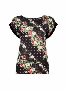 Womens **Tall Black Floral Print Woven Top, Black