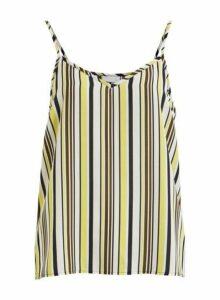 Womens **Vila Multi Colour Yellow Stripe Print Camisole Top- Multi, Multi
