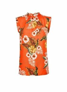 Womens Billie & Blossom Tall Orange Tropical Print Ruffle Shell Top, Orange