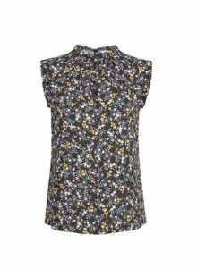 Womens **Billie & Blossom Petite Black Ditsy Print Sleeveless Shell Top, Black