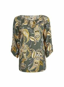 Womens Billie & Blossom Tall Paisley Tie Neck Top - Khaki, Khaki