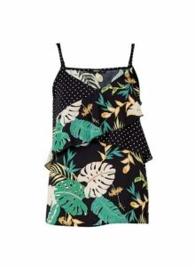 Womens **Only Black Tropical Print Strappy Camisole Top- Black, Black