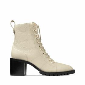 CRUZ 65 Linen Grainy Leather Lace-Up Combat Boots