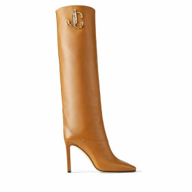 MAHESA 100 Cuoio Calf Leather Knee High Boots with JC Emblem