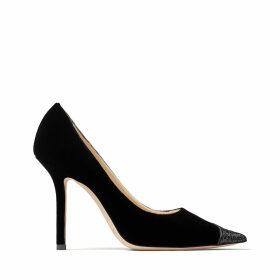 LOVE 100 Black Velvet Glitter Mix Asymmetric Pointy Toe Pumps