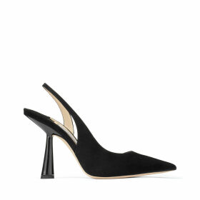 FETTO 100 Black Suede Pointed Toe pumps