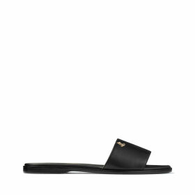 MINEA FLAT Black Nappa Leather Flats with Gold JC Button