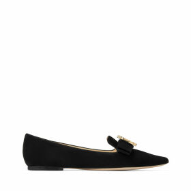 GALA/JC Black Suede Pointed Toe Flats with Bow