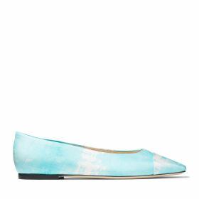 CILLA FLAT Blue Satin Tie Dye Square-Toed Ballerina Flats