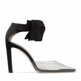 GLINDA 100 Clear Plexi Heel with Black Bow Velcro Fastening