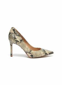 'Hazel' snake embossed leather pumps