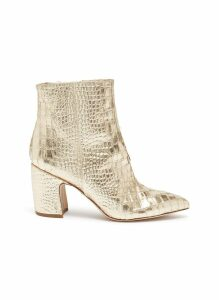 'Hilty' croc embossed mirror leather ankle boots