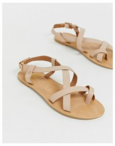 Park Lane strappy toe loop flat sandals-Beige