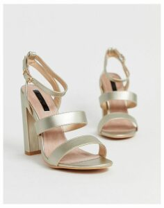 Lost Ink strappy block heeled sandal in gold