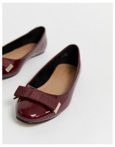 ASOS DESIGN Lexy bow ballet flats in oxblood-Red