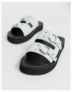 ASOS DESIGN Ficton premium leather hardware flat sandals in white