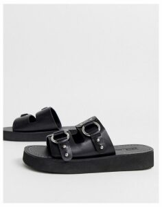 ASOS DESIGN Ficton premium leather hardware flat sandals in black