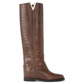 Via Roma 15  boot made of brown crocodile print leather  women's High Boots in Brown