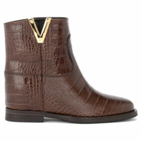 Via Roma 15  ankle boot in brown crocodile print leather  women's Mid Boots in Brown