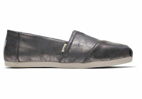 TOMS Grey Shimmer Synthetic Women's Classics Ft. Ortholite Slip-On Shoes - Size UK4