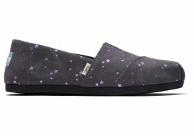 TOMS Grey Micro Fiber Foil Stars Women's Classics Ft. Ortholite Slip-On Shoes - Size UK7.5