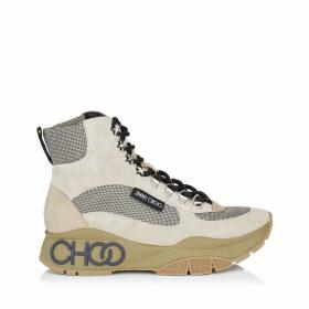 INCA/F Boots en daim, cuir de veau et maille sable blanc et naturelle