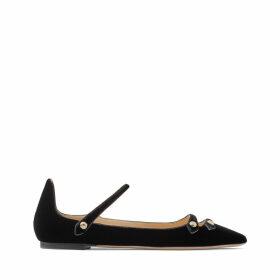 LAYTON FLAT Chaussures plates à bout pointu en velours et cuir verni noir