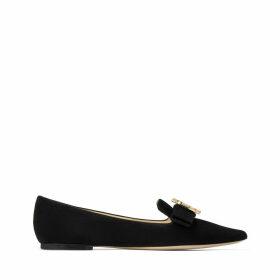 GALA/JC Spitze flache Schuhe aus schwarzem Wildleder mit Zierschleife