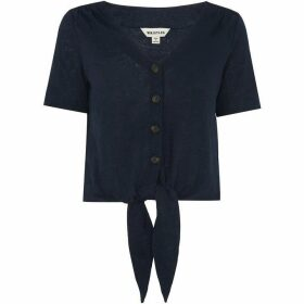 Whistles Linen Button Front Tie Top