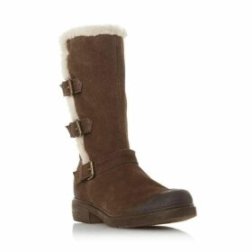 Dune Reactive Fur Lined Buckle Ankle Boots